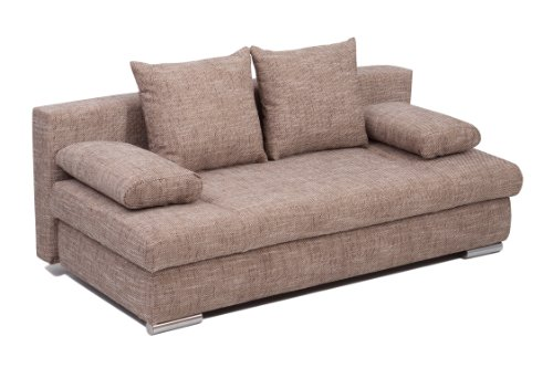 B-famous 004134 Schlafsofa Chicago-PUR Kunstleder, 203 x 79 x 51 cm, Cappuccino