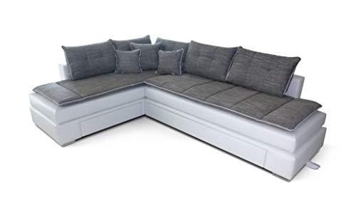 B-famous 150366 Boxspringbett und Wohnlandschaft Night and Day, 223 x 304 x 98 cm, Materialmix PU Kunstleder weiß mit Strukturstoff grau