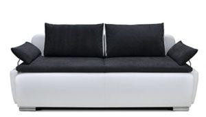 B-famous 150397 Lucas Boxspring-/Schlafsofa, 105 x 224 x 97 cm, Materialmix PU Kunstleder weiß mit weichen Strukturstoff schwarz