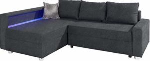 B-famous Enjoy Polsterecke mit Bettfunktion und Bettkasten Ecksofa, Stoff, Anthrazit, 161 x 224 x 84 cm