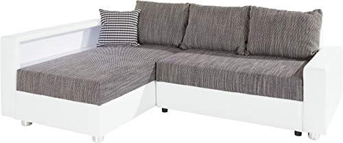B-famous Enjoy Polsterecke mit Bettfunktion und Bettkasten Ecksofa, Stoff, Weiß/grau, 161 x 224 x 84 cm