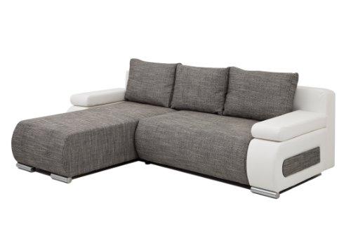 B-famous Polsterecke Ulm Federkern incl. Schlaffunktion, Schenkelmaß 245 x 175 cm, Materialmix Kunstleder-Strukturstoff weiß-schwarz