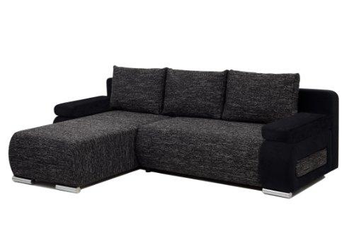 B-famous Polsterecke Ulm Federkern incl. Schlaffunktion, Schenkelmaß 245 x 175 cm, Materialmix Mikrovelours-Strukturstoff schwarz