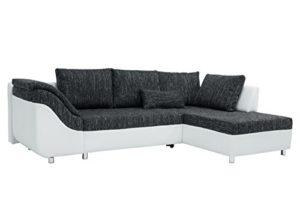 B-famous Sally Polsterecke mit Bettfunktion und Bettkasten, Stoff, Weiß/schwarz, 165 x 256 x 87 cm