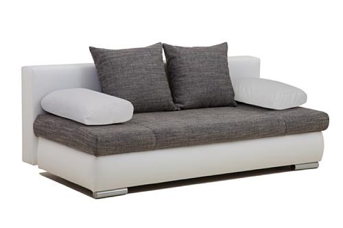 B-famous Schlafsofa, Stoff, weiß / grau, 95 x 200 x 72 cm