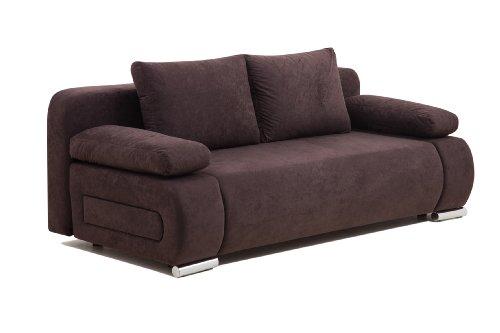 B-famous ULM Sofa Schlafsofa, Mikrofaser, braun, 98 x 200 x 85 cm