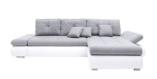 AVANTI TRENDSTORE - Polsterecke aus Kunstleder weiß, ca. 303x88x175 cm