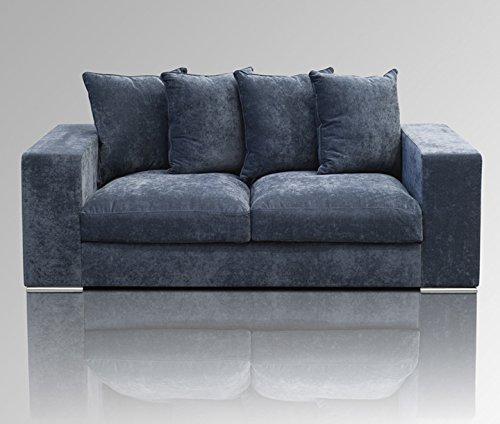 Amaris Elements | 'George' 2 Sitzer-Sofa inklusive 4 Kissen, Couch Samt grau blau | Samtsofa modern Länge 2m
