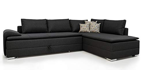 Collection AB B-famous Night & Day Polsterecke mit Boxspring-Aufbau, Links, Stoff, Anthrazit, 218 x 324 x 95 cm