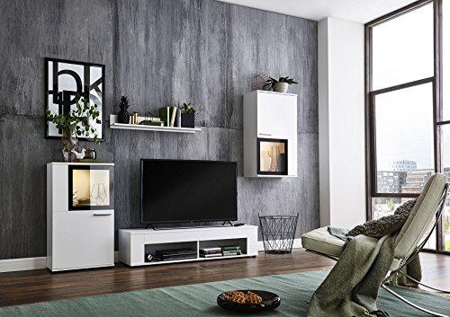 BMG Möbel Wohnwand Schrankwand Wohnzimmerschrank Mediawand Anbauwand TV-Element Orlando in weiß/schwarz inkl. LED…
