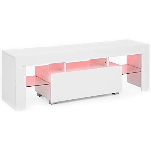 FineBuy Design LED - Lowboard FB51484 130 cm Weiß Hochglanz Holz HiFi Regal | TV Board mit Schublade & LED Beleuchtung…