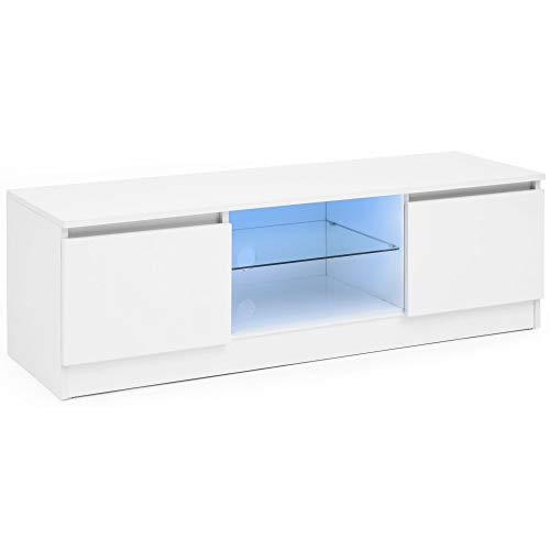 FineBuy Lowboard mit LED FB51489 Weiß Hochglanz HiFi Regal 120 cm | Design Fernsehschrank Kommode Modern | TV Unterschrank Wohnzimmer | TV Board mit Schublade & LED Beleichtung EEK A++