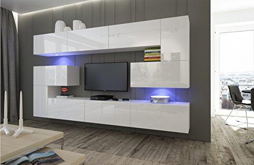 Home Direct Albania N3, Modernes Wohnzimmer, Wohnwände, Wohnschränke, Schrankwand (Weiß MAT Base/Weiß HG Front, LED RGB…