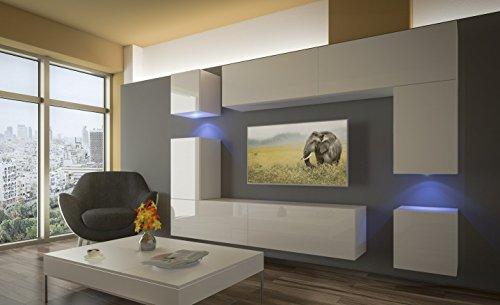 Home Direct PRAG N5, Modernes Wohnzimmer, Wohnwände, Wohnschränke, Schrankwand (Weiß Matt Base/Weiß HG Front (HG26), LED…