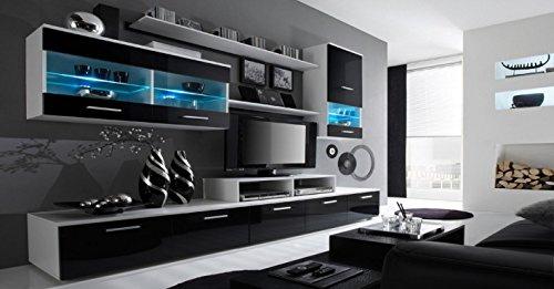 Home Innovation - Glanzlack Wohnwand, Wohnzimmer, Wohnzimmerschrank, Anbauwand, Esszimmer mit LEDs, weiß matt und schwarz lackiert, Maße: 250 x 194 x 42 cm, Tiefe.