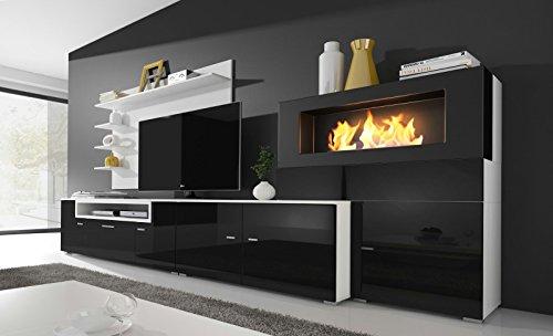 Home innovation- Wohnmöbel mit elektrischem Kamin mit 5 Flammenstufen, Oberfläche weiß Mate und schwarz lackiert, Maße…