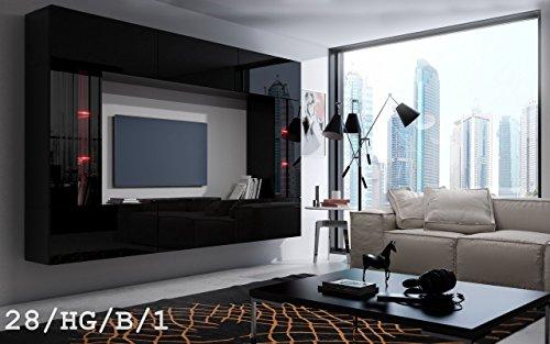 HomeDirectLTD Future 28 Wohnwand Anbauwand Wand Schrank TV-Schrank Wohnzimmer Wohnzimmerschrank Möbel Hochglanz Weiß Schwarz LED RGB Beleuchtung
