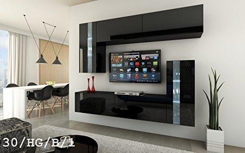 HomeDirectLTD Future 30 Wohnwand Anbauwand Wand Schrank Möbel Wohnzimmerschrank Wohnzimmer TV-Schrank Hochglanz Weiß Schwarz LED RGB Beleuchtung