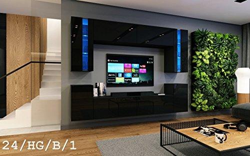 HomeDirectLTD Wohnwand Future 24 Moderne Wohnwand, Exklusive Mediamöbel, TV-Schrank, Garnitur, Große Farbauswahl (RGB LED-Beleuchtung Verfügbar)