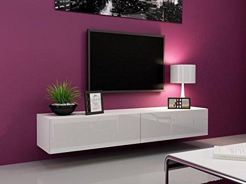 Jadella TV Board Lowboard Migo Hängeschrank Wohnwand 180cm (Latte Matt/Weiß Hochglanz)