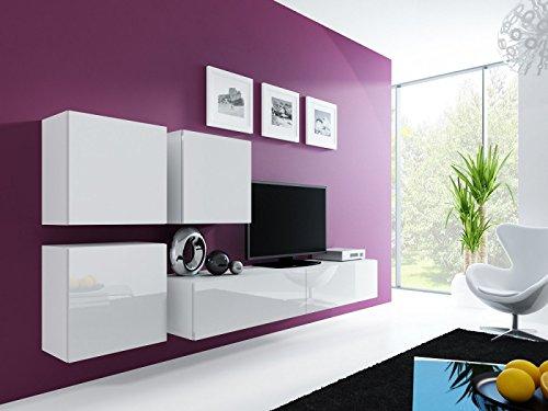 Jadella Wohnwand ' Vigo 23' Hochglanz Hängeschrank Lowboard Cube, Farbe:Weiß Latte