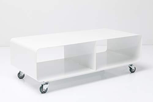 Kare Design Lounge M TV Mobil, Hochglanz Lack, modernes, schmales Lowboard Möbel im Retro-Look, Couchtisch mit Rollen…