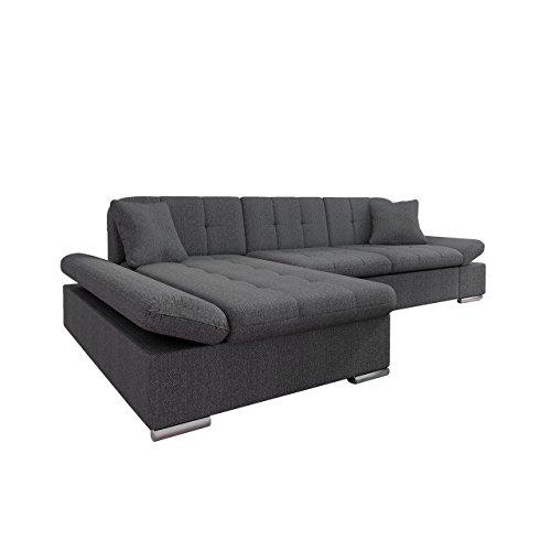 Mirjan24 Ecksofa Malwi mit Regulierbare Armlehnen Design Eckcouch mit Schlaffunktion und Bettkasten, L-Form Sofa vom Hersteller, Couch Wohnlandschaft