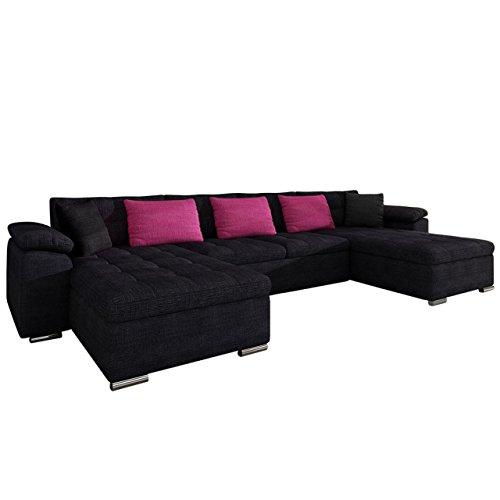 Mirjan24 Ecksofa Wicenza! Design Big Sofa Eckcouch Couch! mit Schlaffunktion Bettfunktion! Wohnlandschaft! U-Form, Große…