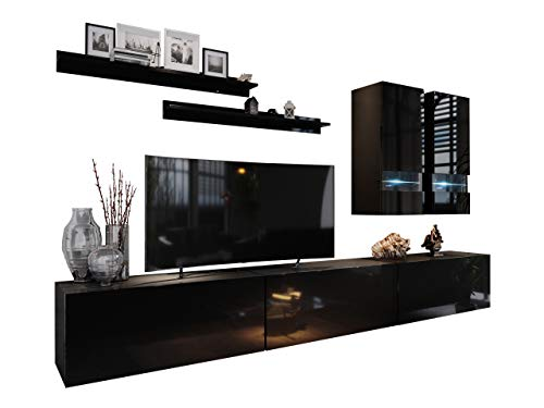 Mirjan24 Wohnwand Box I, Wohnzimmer Set Kombination, grifflosem Öffnen, Anbauwand, Hängeschrank, Vitrine, TV Lowboard, Wandboard