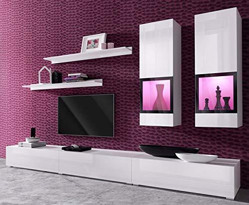 Moebelaktionsshop24 WOHNWAND 6-TLG Wohnzimmer LOWBOARD WEIß Hochglanz NEU 250369