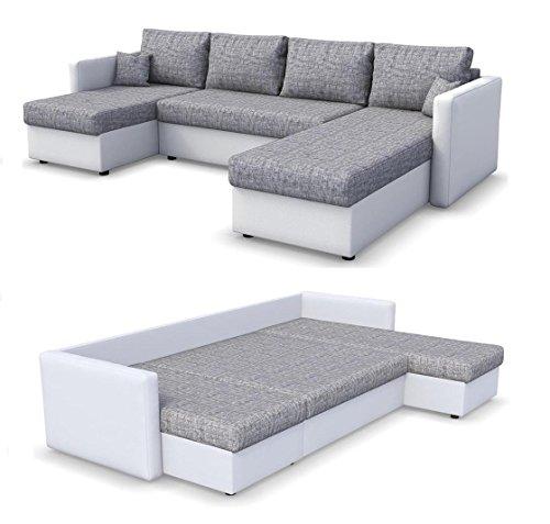 Oskar Wohnlandschaft King Size 290 x 140 cm Weiß Grau - Sofa mit Schlaffunktion Schlafsofa Couch Bettfunktion Polsterecke