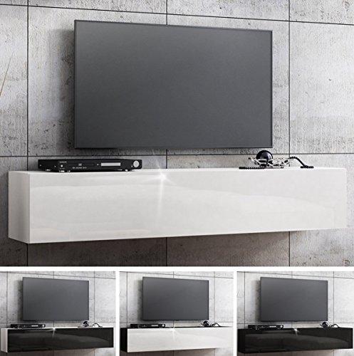 RODRIGO TV Lowboard 160cm Hängeboard Hochglanz schwarz TV Board modernes Design (korpus matt schwarz+Front weiß…