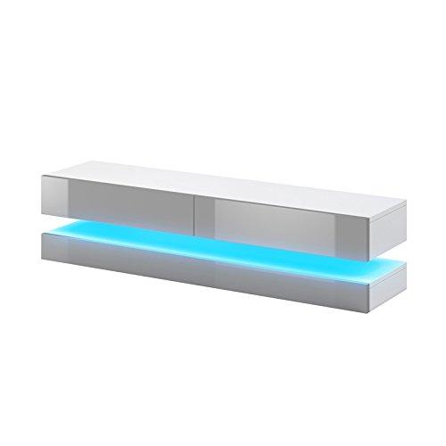 Selsey Fernsehschrank, Weiß matt/Grau Hochglanz, 140 cm