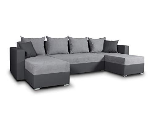 Wohnlandschaft mit Schlaffunktion Beno - U-Form Couch, Ecksofa mit Bettkasten, Couchgranitur mit Bettfunktion…