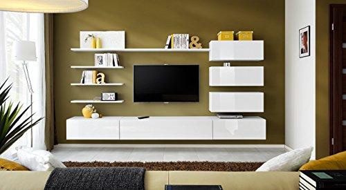 """BMF """"Italien Modern Hochglanz Wohnzimmer/Schlafzimmer/Studio flach–Möbel Set–Wohnwand TV Ständer/Schränke & Regale–nur aus BMF. dunkel"""