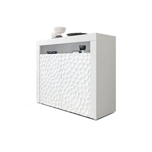 Kommode Sideboard Valencia, Korpus in Weiß matt/Fronten in Weiß Hochglanz Calypso mit 3D Struktur und Blenden in Weiß…