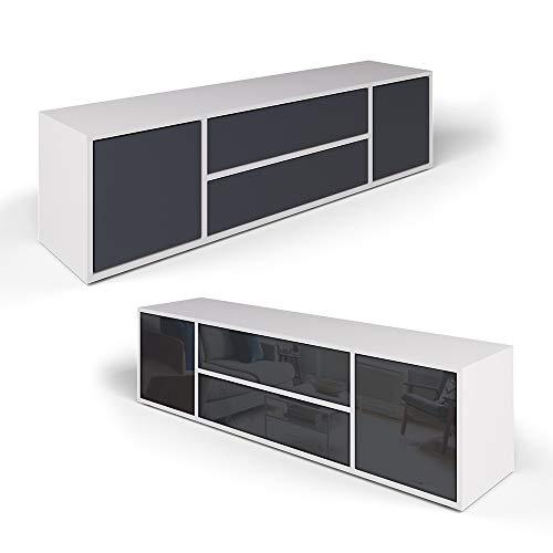 Vicco Lowboard Grande Weiß Anthrazit - Fernsehschrank Sideboard TV Fernsehtisch/Hochglanz Fronten oder Soft Touch/Inkl…