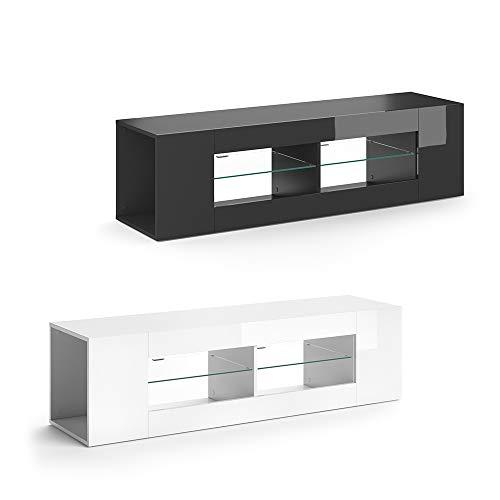 Vicco Lowboard LED STELIOS Hochglanz Fernsehtisch TV-Schrank Sideboard (Schwarz Hochglanz)