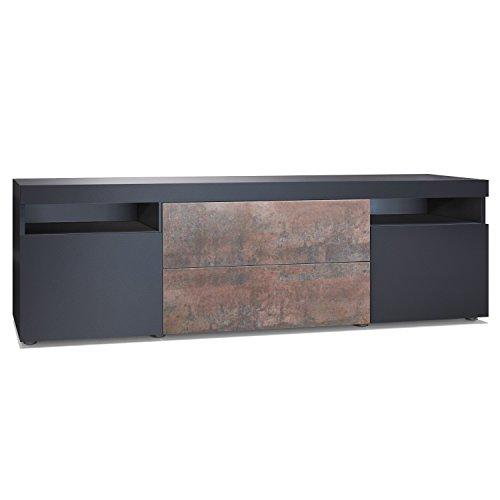 Vladon TV Board Lowboard Kapstadt 166, Korpus und Türen in Graphitoptik/Schubkastenfronten in Stahlfarben