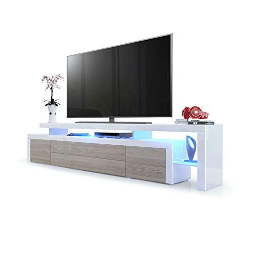 Leon V3 TV Ständer weiß, White High Gloss / Black High Gloss, with LED