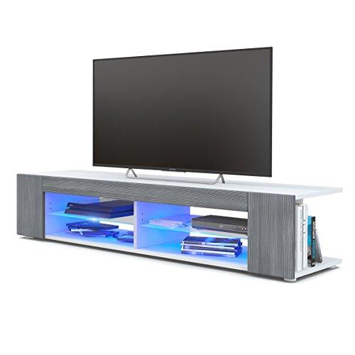 TV Board Lowboard Movie, Korpus in Weiß matt/Fronten in Avola-Anthrazit inkl. LED Beleuchtung in Blau