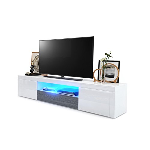 TV-Einheit Santiago weiß, White High Gloss / Rough-sawn Oak, with LED lighting