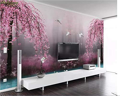 Wallswot 3D-Wallpaper Schöne Tapete schöne träumerische rosa Kirschschwanenseelandschaft Fernsehwand-Wandpapiere Wohnwand 3D