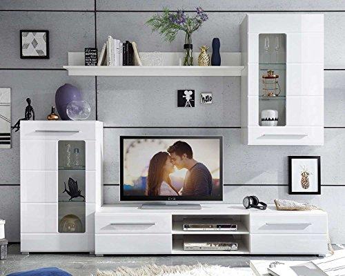 Wohnwand Anbauwand Wohnzimmerschrank 4-tlg. ELLA | Weiß Hochglanz | Verglasung