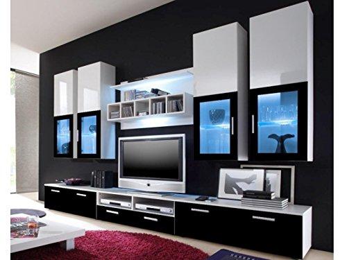 Möbel-direkt.de Wohnwand Lyra Black Hochglanz …
