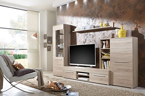 BMG Möbel Wohnwand Wohnzimmerschrank Fernseh Schrank Anbauwand TV-Element Cannes in Eiche Sonoma - Made in Germany…
