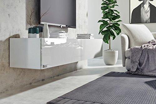 Wuun® TV Board hängend/8 Größen/5 Farben/100cm Matt Weiß- Beton/Lowboard Hängeschrank Hängeboard Wohnwand/Hochglanz…