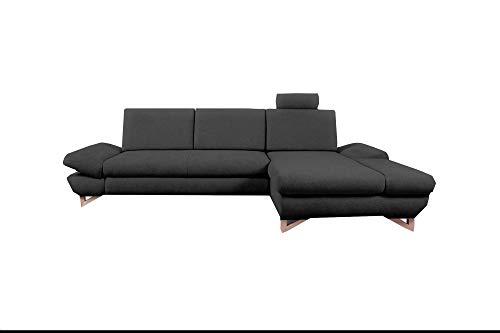 mb-moebel Ecksofa mit Schlaffunktion Eckcouch mit Bettkasten Sofa Couch L-Form Polsterecke Merida (Anthrazit, Ecksofa…