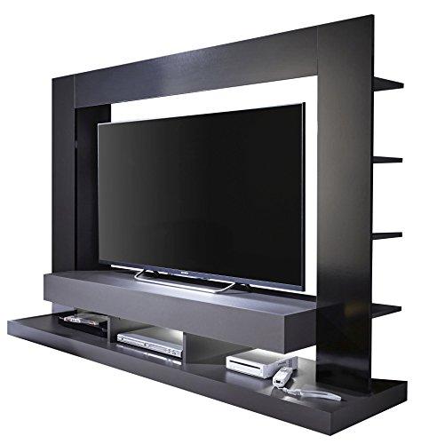 trendteam smart living Wohnzimmer Anbauwand Wohnwand TTX05, 170 x 124 x 46 cm in Korpus Grau, Front Schwarz Hochglanz…