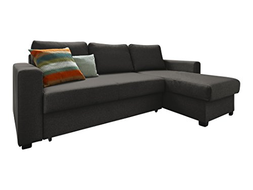 Atlantic Home Collection DUBLIN Schlafsofa, Polsterecke mit Federkern und Bettfunktion, Stoff, Grau, 150 x 234 x 89 cm